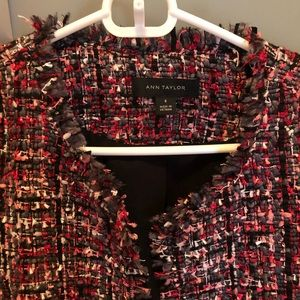 Ann Taylor tweed red/grey/black tweed jacket